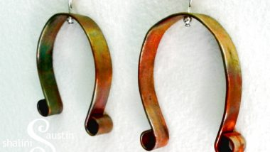 fire painted horseshoe earrings