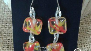 Glass beads Wire Earrings 1