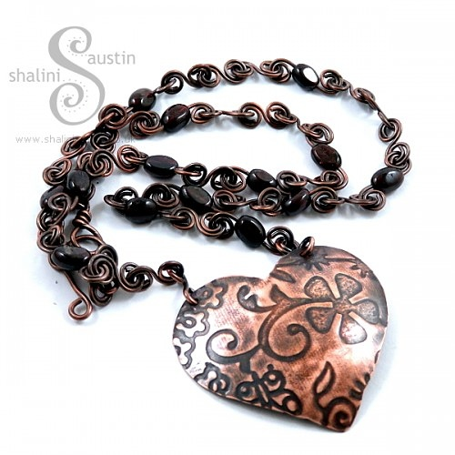 Copper Hearts Pendnats - This one has been sold.