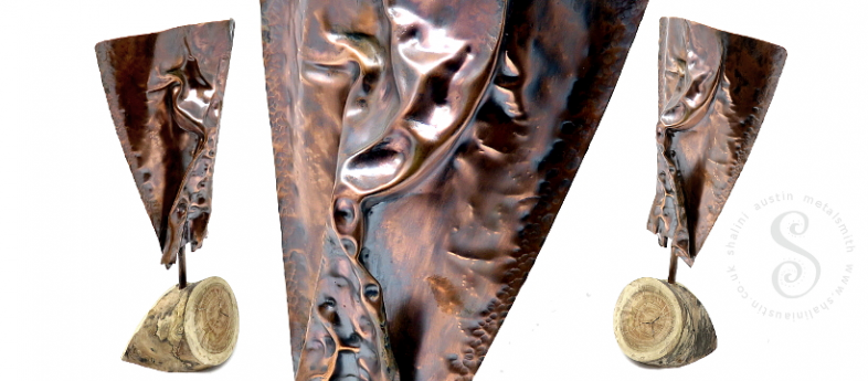 Air-Chased One off Copper Sculpture ANGST