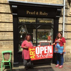 Eve and Shalini at PEarl & Ruby for Peterbororugh Artists Open Studios