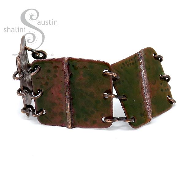 Enamelled Salvaged Copper Bracelet – Olive Green