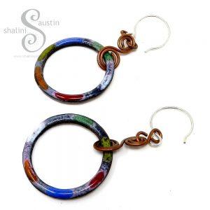 colourful copper earrings