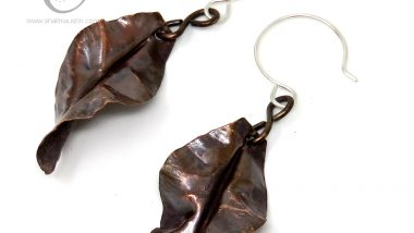 Copper Leaf Earrings | Antique Finish
