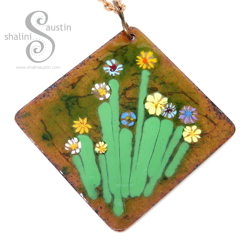 Beautiful Enamelled Square Copper Pendant | BOUQUET 01