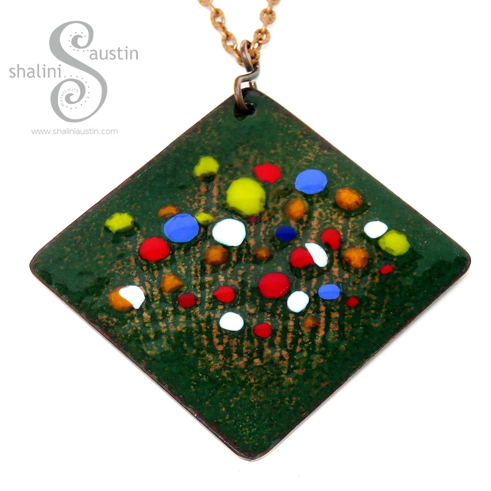 Beautiful Enamelled Square Copper Pendant | BOUQUET 02