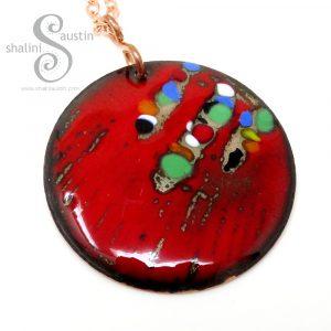 Round Enamelled Copper Pendant 01