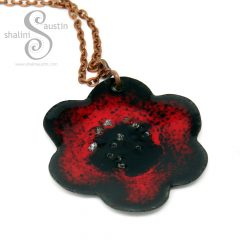 394-5-enamelled-copper-flower-pendant-red-black