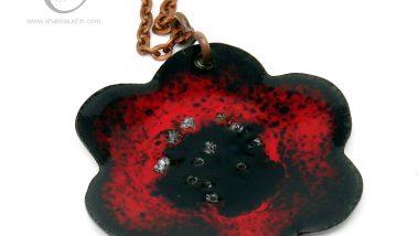 394-5-enamelled-copper-flower-pendant-red-black