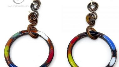 Colourful Copper Circle Earrings