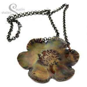 Large Copper Flower Pendant 01