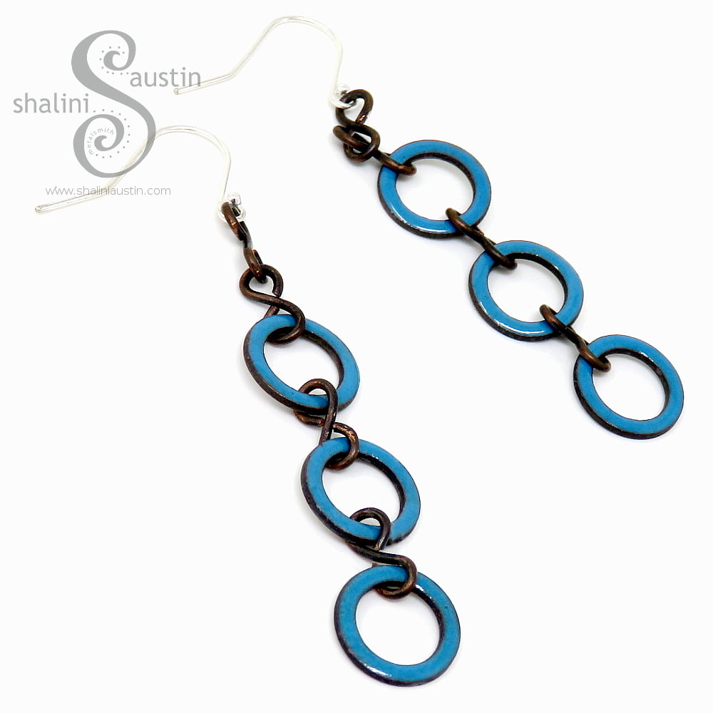 Teal Enamelled Copper Circle Earrings 02